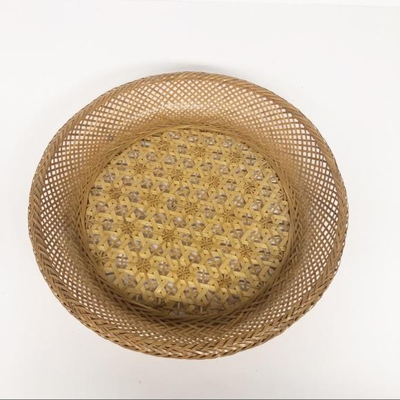Vintage Wicker Rattan Shallow Basket